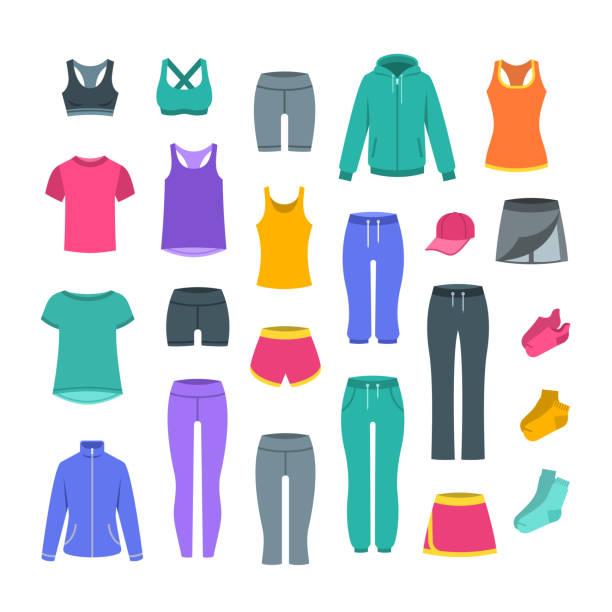 illustrazioni stock, clip art, cartoni animati e icone di tendenza di women casual clothes for gym fitness training - capri
