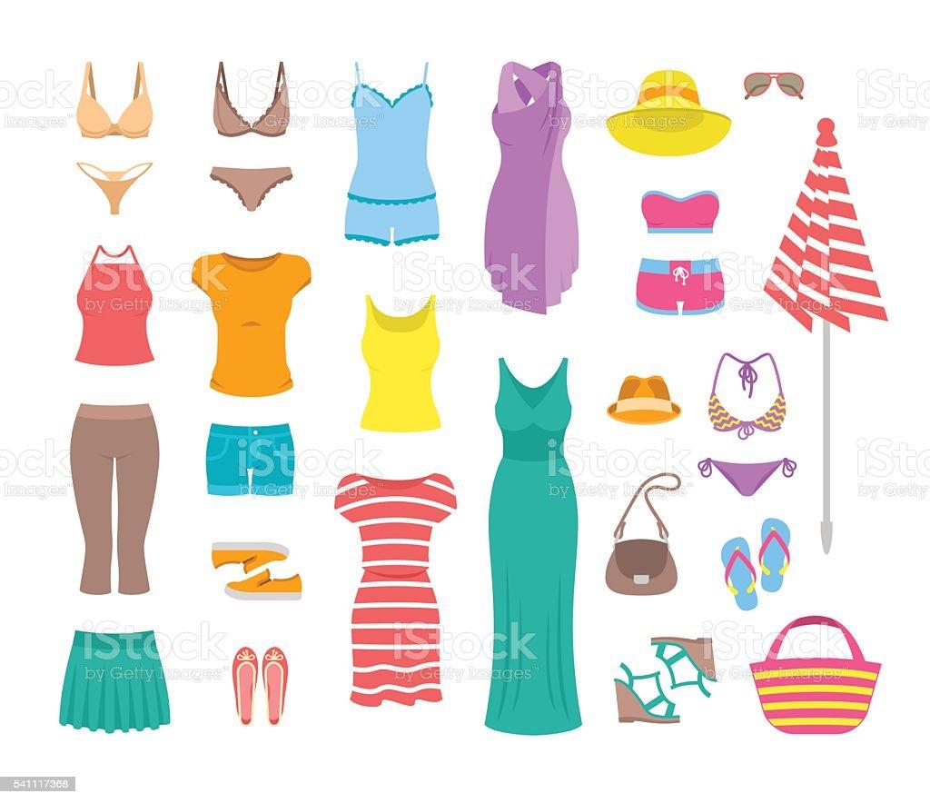 Damen Kleidung und Accessoires Legere Sommer flache Symbole – Vektorgrafik