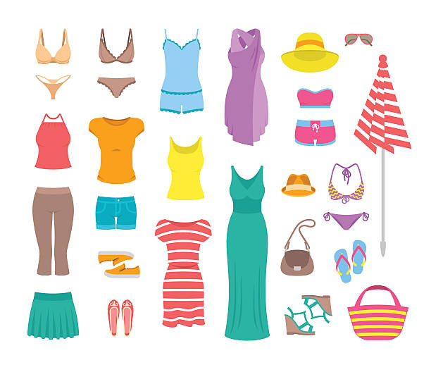 women casual summer clothes and accessories flat icons - shoes fashion stock illustrations, clip art, cartoons, & icons