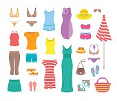 Women casual summer clothes and accessories flat icons