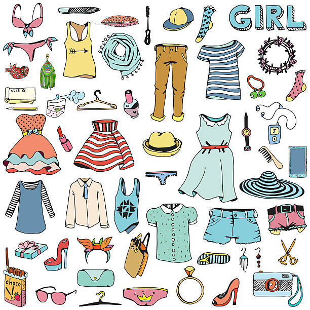 women clothes and accessories. hand drawn doodle set. - lalka stock illustrations