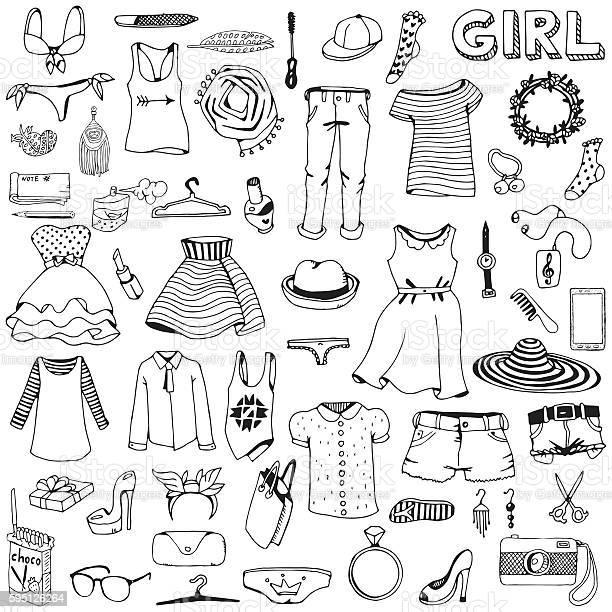 Women clothes and accessories hand drawn doodle set vector id595126264?b=1&k=6&m=595126264&s=612x612&h=rldronbchiiltt4ap95c0iapa5g10siuoeishlzsiec=