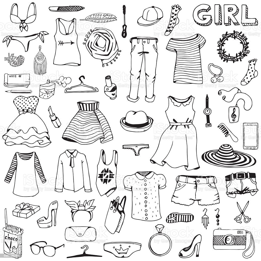 Women clothes and accessories. Hand drawn doodle set. vector art illustration