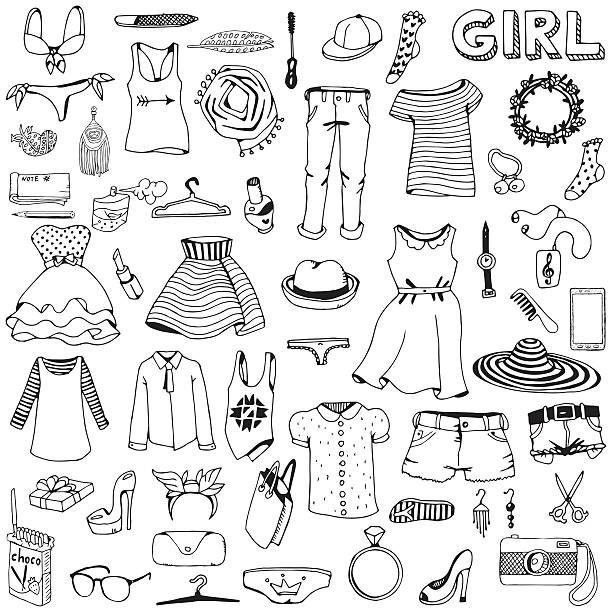 bildbanksillustrationer, clip art samt tecknat material och ikoner med women clothes and accessories. hand drawn doodle set. - klänning