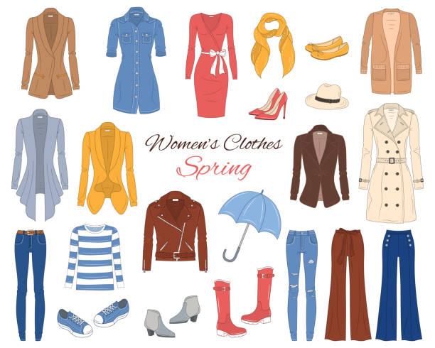 stockillustraties, clipart, cartoons en iconen met vrouwen kleding collectie. lente-outfit. vectorillustratie. - men blazer