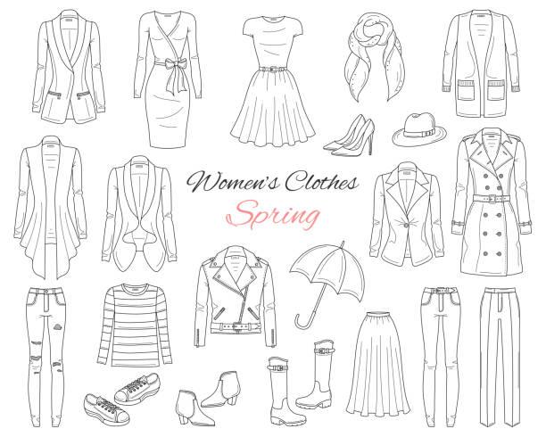 stockillustraties, clipart, cartoons en iconen met vrouwen kleding collectie. lente-outfit. vectorillustratie - men blazer