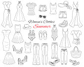 Female fashion set. Women cothes collection. Summer outfit dresses, skinny jeans, denim shorts, tops, beach hat, swimwear, sunglasses, sandals and flip flops hand drawn vector illustration