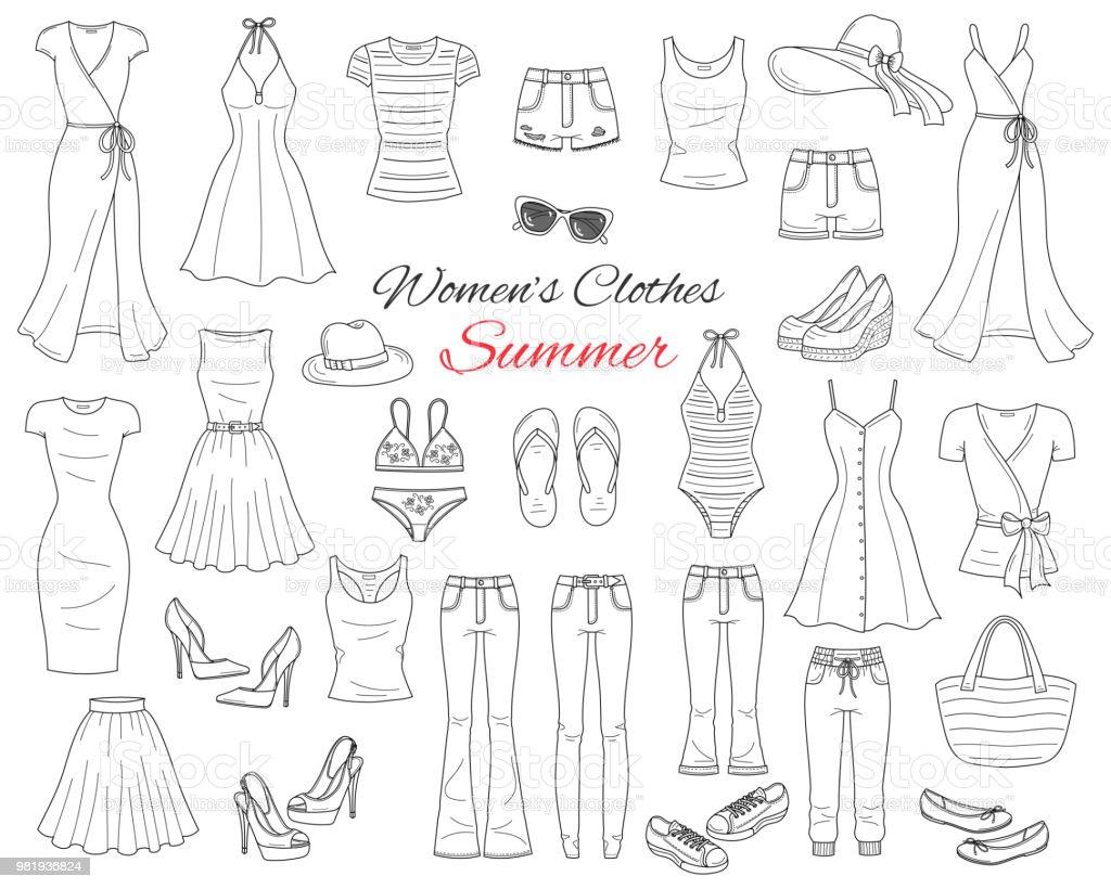 Damen-Kleider-Kollektion. Vektorgrafik-Skizze – Vektorgrafik