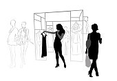 Women in silhouette figures shopping for clothes at the mall