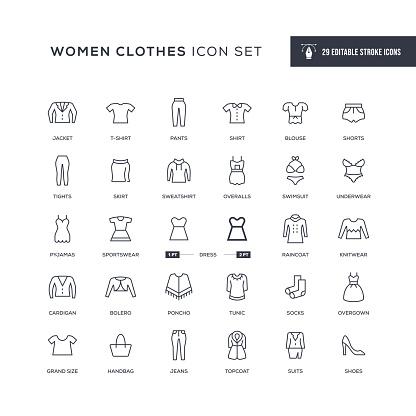 Women Clothes Editable Stroke Line Icons
