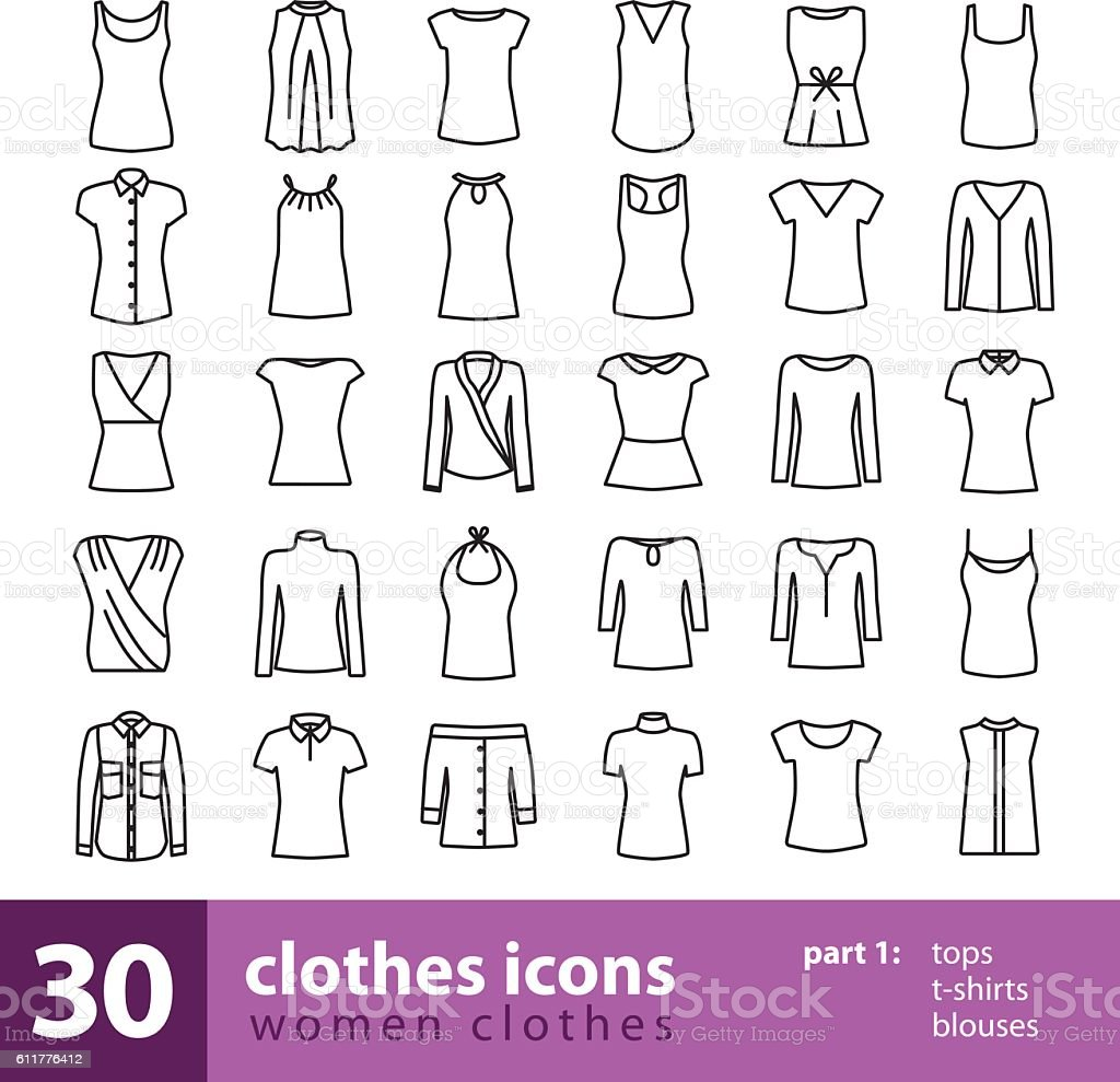 Women Clothes Icons Tops Tshirts Blouses Stock Illustration