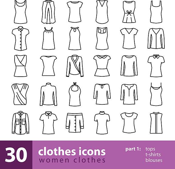 women clothes icons - tops, t-shirts, blouses - damenmode stock-grafiken, -clipart, -cartoons und -symbole