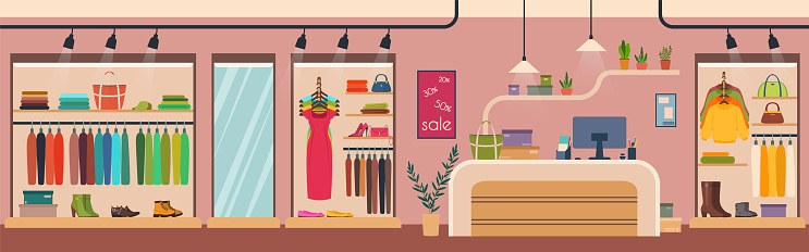 Women clothes store, fashion boutique interior. Female apparel and accessories retail clothing shop with counter table vector illustration