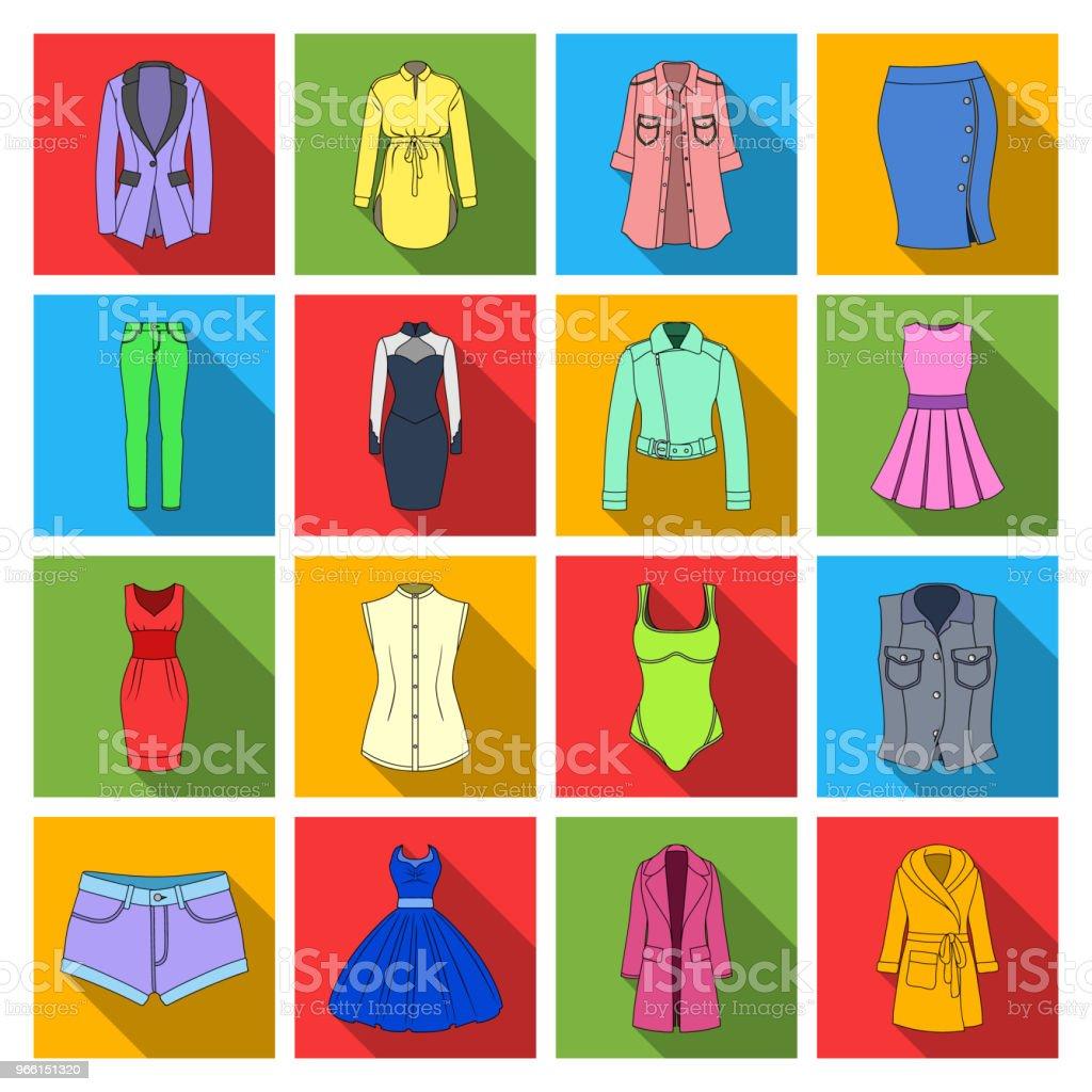 Frauen Kleidung flache Symbole im Set Sammlung für Design. Kleidung-Sorten und Zubehör Symbol Lager Web Vektorgrafik. - Lizenzfrei Accessoires Vektorgrafik