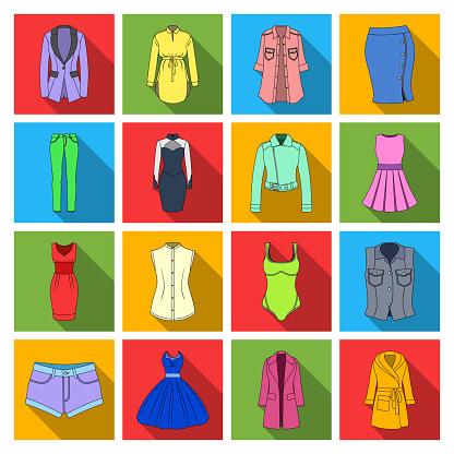 Frauen Kleidung Flache Symbole Im Set Sammlung Für Design Kleidungsorten Und Zubehör Symbol Lager Web Vektorgrafik Stock Vektor Art und mehr Bilder von Accessoires