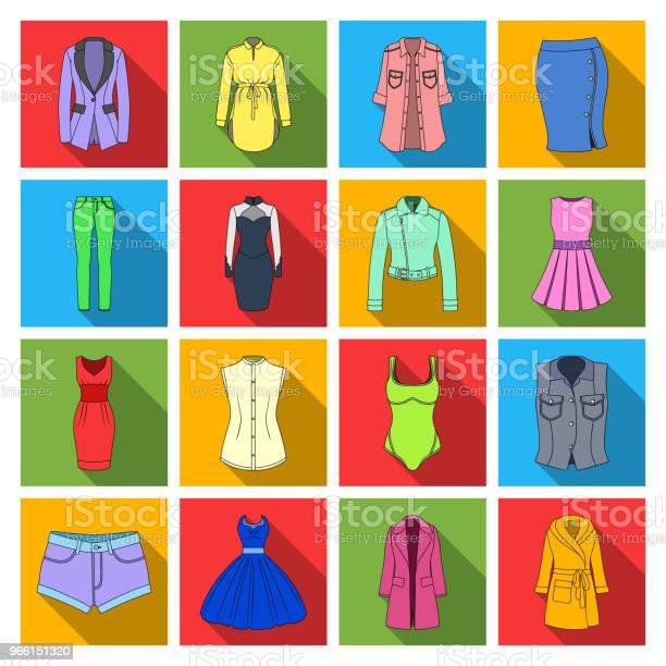 Kvinnor Kläder Platt Ikoner I Set Samling För Design Kläder Sorter Och Tillbehör Vektor Symbol Lager Web Illustration-vektorgrafik och fler bilder på Badkläder