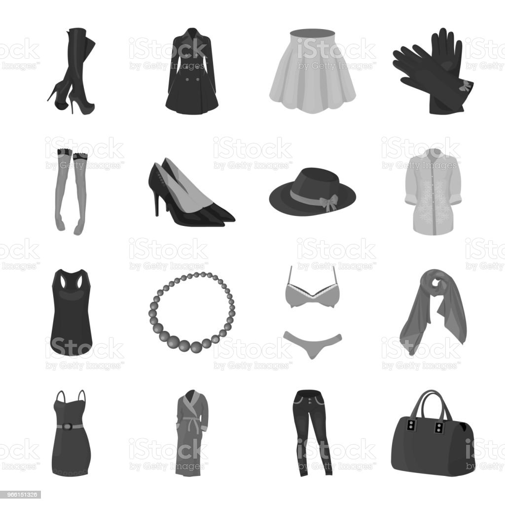 Women Clothing monochrome icons in set collection for design.Clothing Varieties and Accessories vector symbol stock web illustration. - Royalty-free Adult stock vector