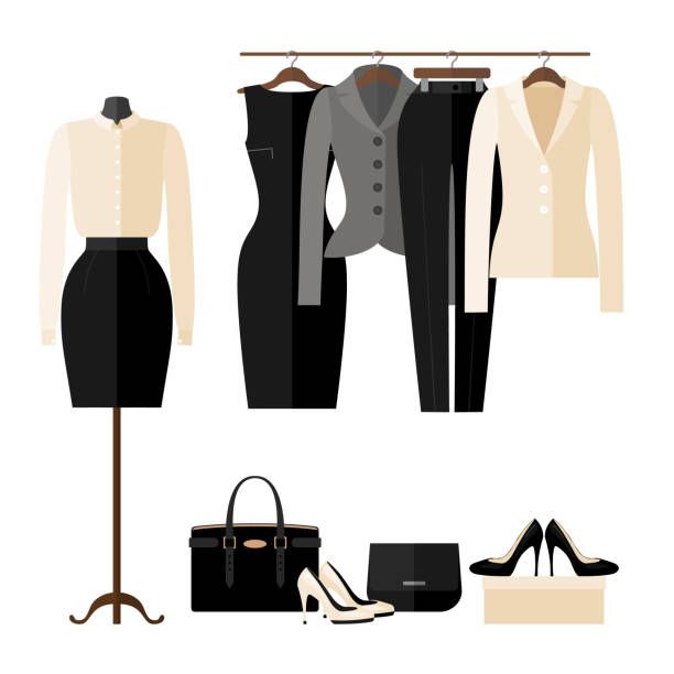 Women Clothing store interior with business clothes in flat style. Women Clothing store interior with business clothes in flat style isolated on white. Women's fashion shop. Vector illustration. businesswear stock illustrations