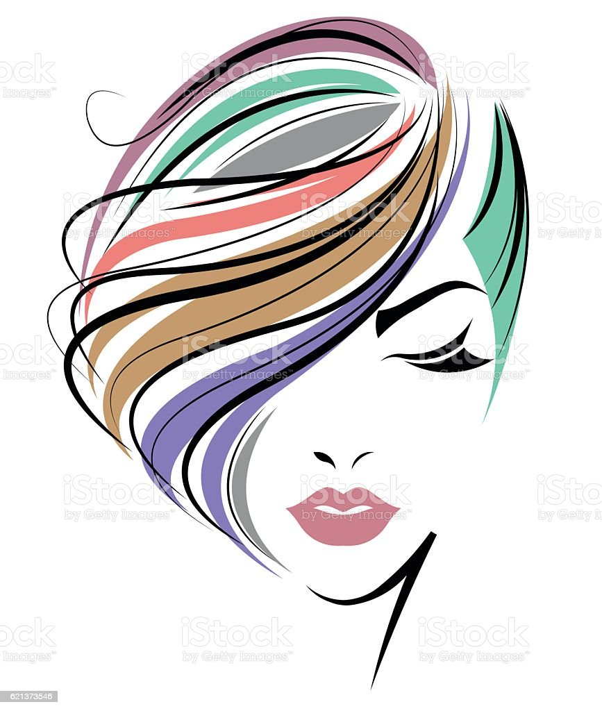 women color hair style, women face on white background vector art illustration