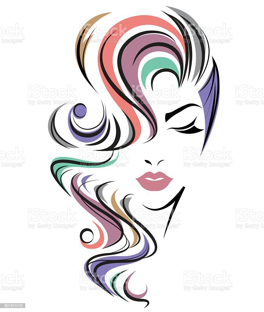 Women Color Hair Style Women Face On White Background ...