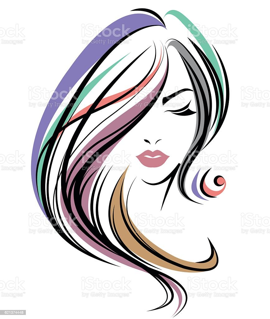 women color hair style women face on white background