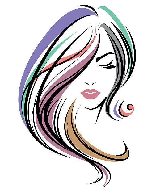 women color hair style, women face on white background - langhaar stock-grafiken, -clipart, -cartoons und -symbole