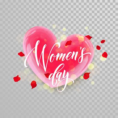 Women Day 3d heart flower trasnparent background