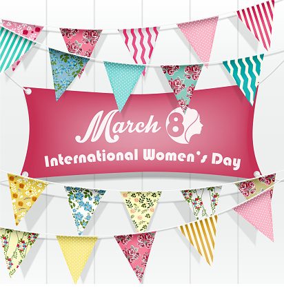 Women day march greeting card greeting on white wooden background