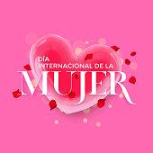 Women Day Spanish Dia de la Mujer heart greeting background