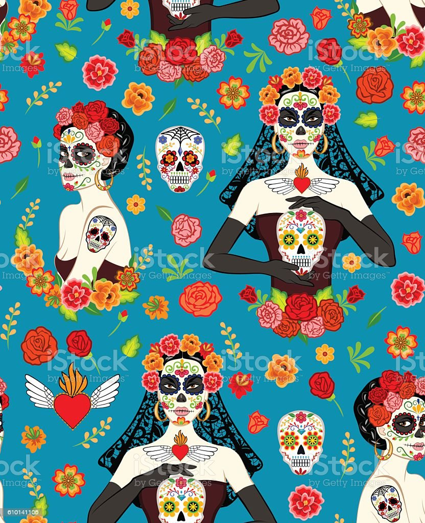 Women Dia Los Muertos vector art illustration