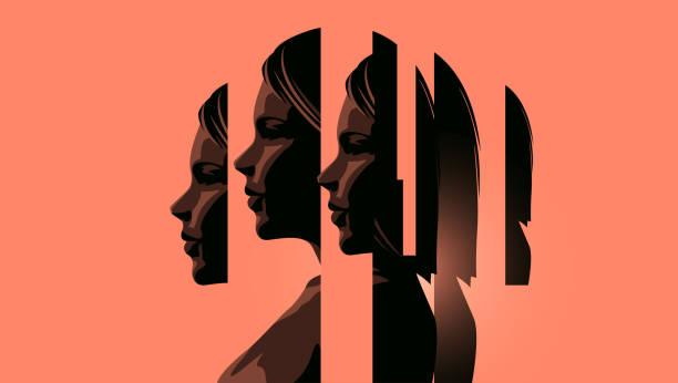 여성 정신 건강 처리 - 개념 stock illustrations