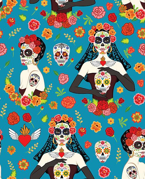women dia los muertos - gothic fashion stock illustrations, clip art, cartoons, & icons