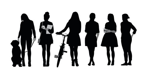 Women Differences Silhouette vector illustration of a group of only young women.  One is standing with her dog, the other with a bicycle, one is holding her smartphone, and the others are standing in a row. millennial generation stock illustrations