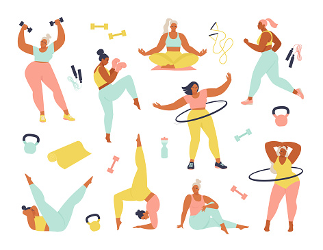 Women different sizes, ages and races activities. Set of women doing sports, yoga, jogging, jumping, stretching, fitness. Sport women vector flat illustration isolated on white background.