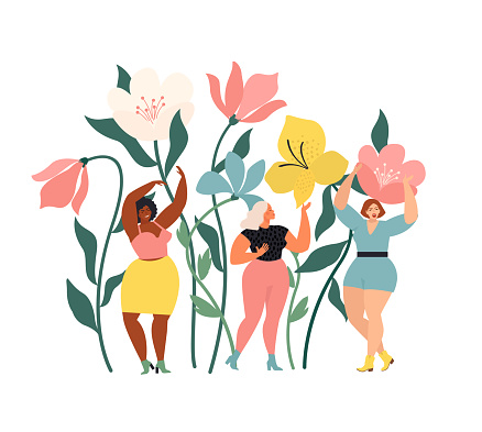 Women diverse of different ethnicity are wonder the huge spring wild flowers. Spring vibes mood. International Women's Day.