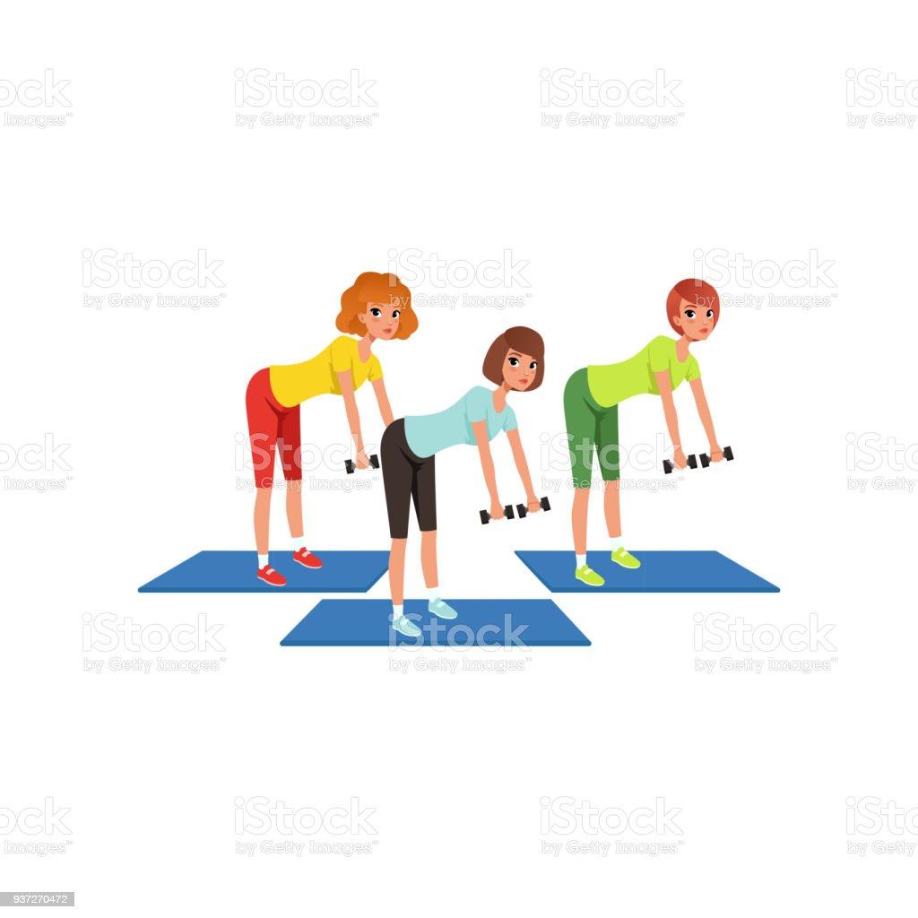 06283d1b9570 Mujeres haciendo ejercicios para las manos y la espalda con mancuernas.  Tres niñas en el