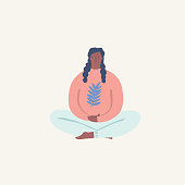 Women doing yoga and meditating visiting in a lotus pose illustration in vector