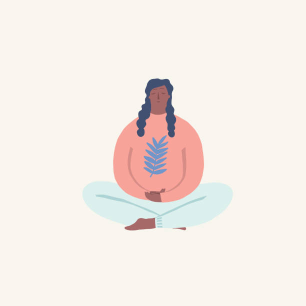 Women doing yoga and meditating visiting in a lotus pose illustration in vector vector art illustration