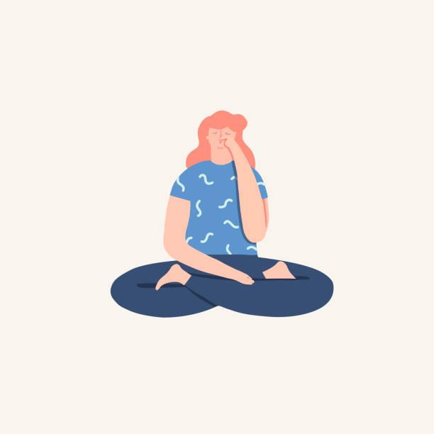 Women Doing Yoga Breathing Exercise Pranayama Vector Art Illustration