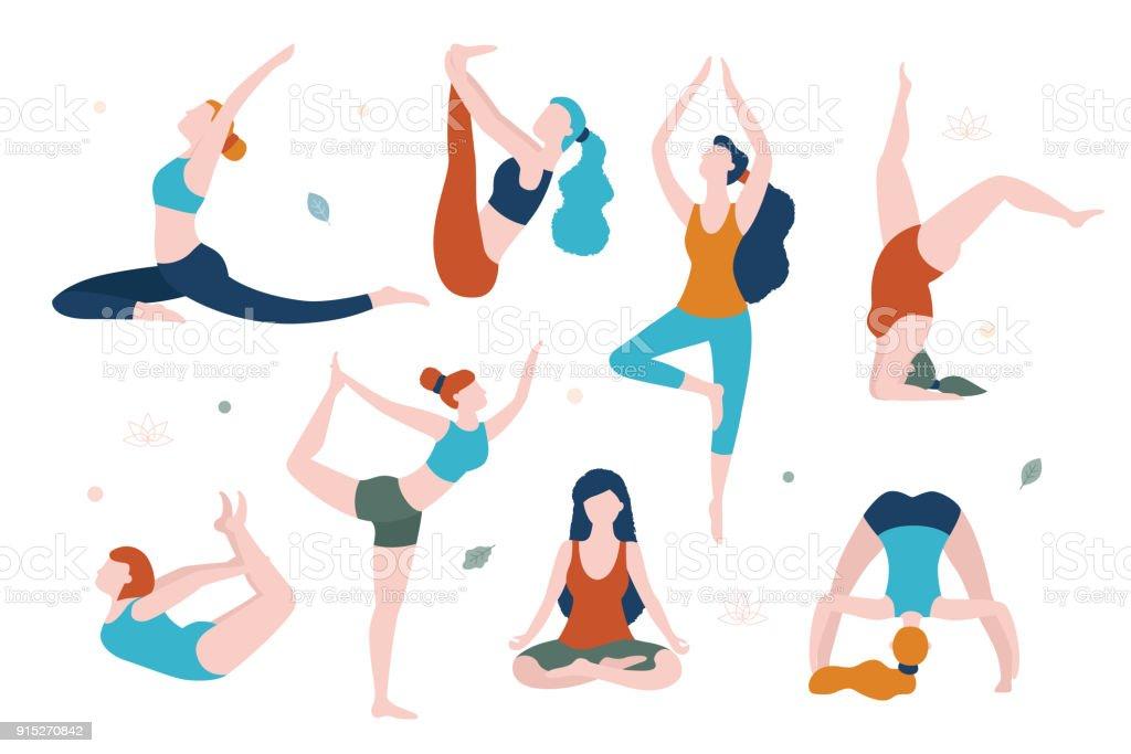 Mujeres haciendo yoga en diferentes poses vector ilustración plana aislado sobre fondo blanco. Yoga para cada mujer. - ilustración de arte vectorial