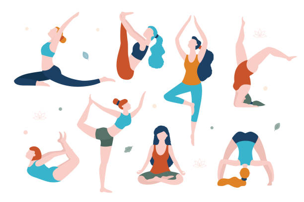women doing yoga in different poses vector flat illustration isolated on white background. yoga for every woman. - yoga stock illustrations, clip art, cartoons, & icons