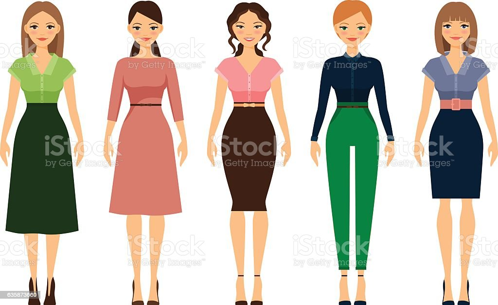 Women Dress Code Romantic Style Icons Stock Vector Art