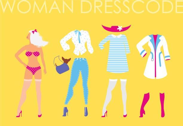 frauen kleiderordnung romantischen stil abbildung auf gelben zeitmessung - damenmode stock-grafiken, -clipart, -cartoons und -symbole