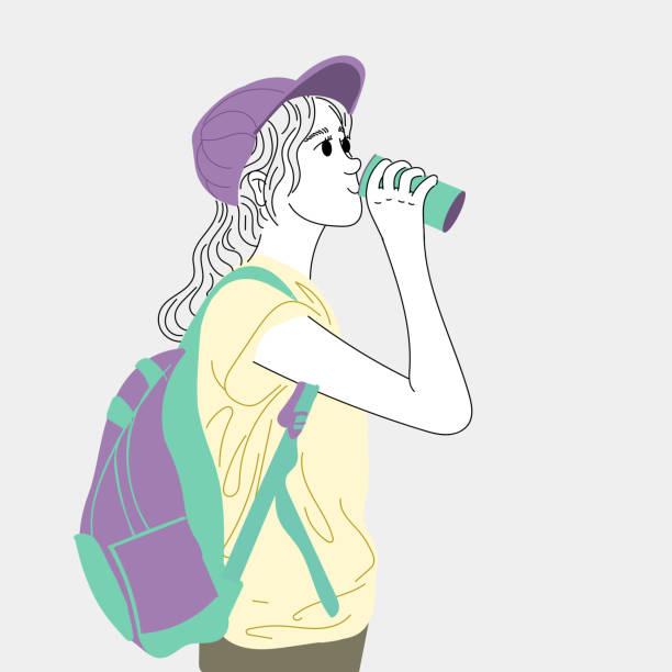 Women drink energy drinks in the outdoors. vector art illustration