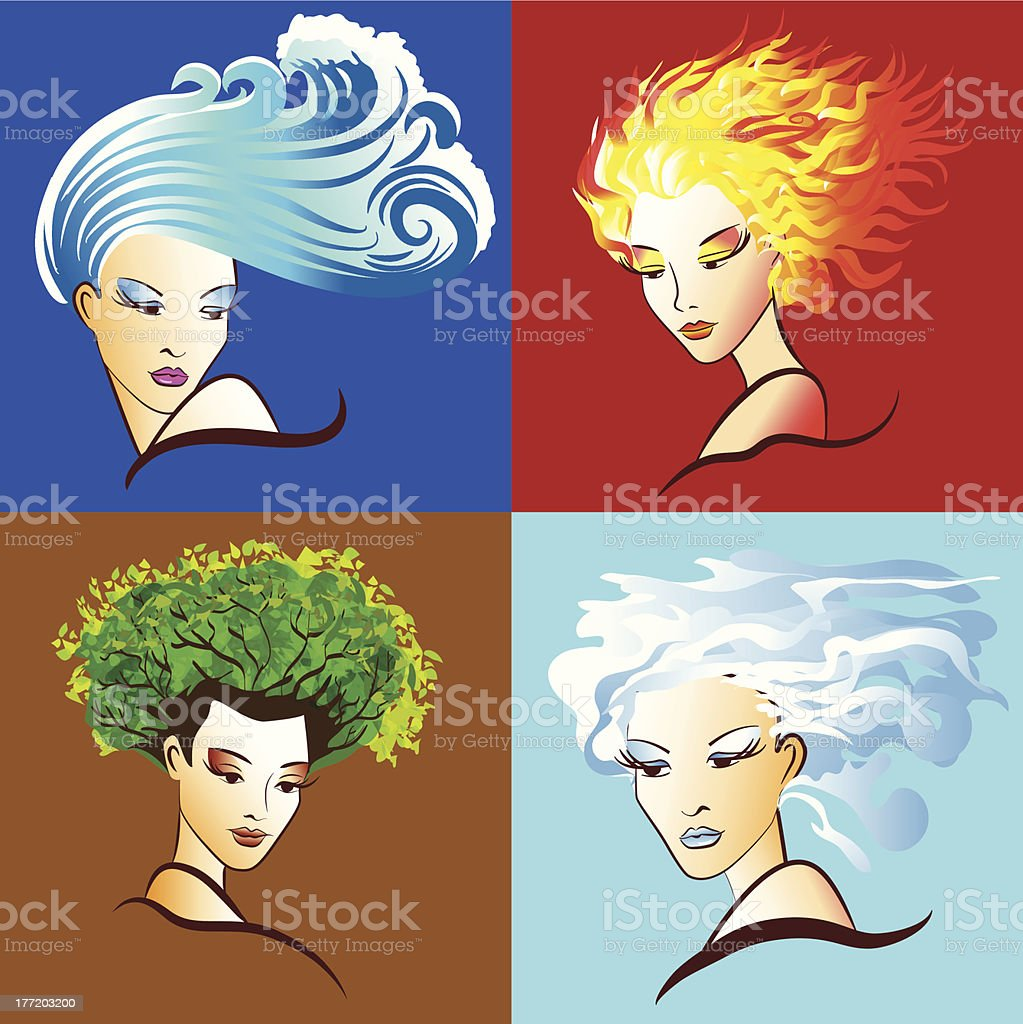 Women embody the elements of nature royalty-free women embody the elements of nature stock vector art & more images of abstract