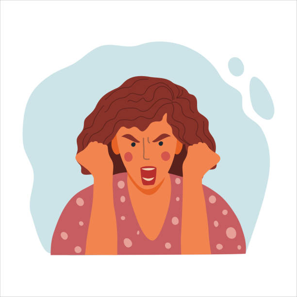 women emotional portrait, hand drawn flat design concept illustration of angry girl, female face and clenched fists avatar. vector icon - anger stock illustrations