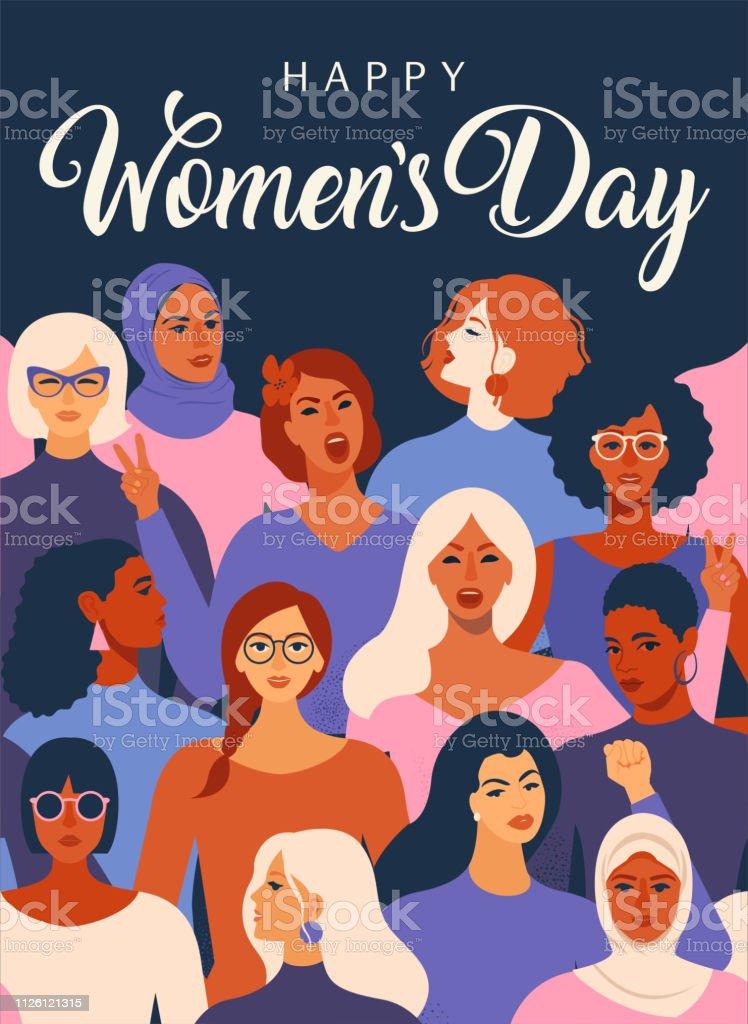 Patrón de movimiento de empoderamiento de las mujeres. Gráfico del día de women´s internacional en vector. ilustración de patrón de movimiento de empoderamiento de las mujeres gráfico del día de womens internacional en vector y más vectores libres de derechos de a la moda libre de derechos