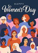 istock Women empowerment movement pattern. International women´s day graphic in vector. 1126121315