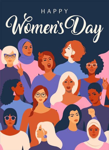 women empowerment movement pattern. international women´s day graphic in vector. - international womens day stock illustrations