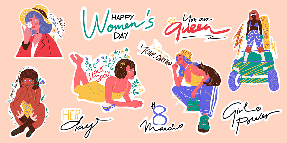 Women Empowerment Sticker Pack. Hand-drawn Vector Illustration. Sticker Collection. 8 March - Happy Women's Day Icon Set. Female Characters Drawing. Handwritten Lettering. Motivational Slogans